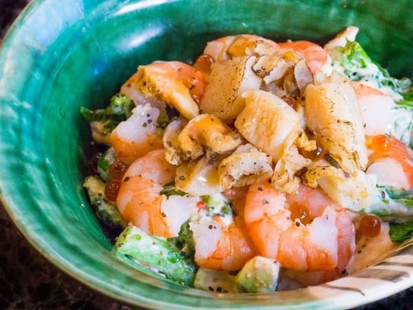 ホタテと海老の菜の花和え丼